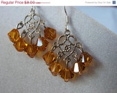 FINAL SALE Topaz Swarovski Chandelier Earrings November Birthstone