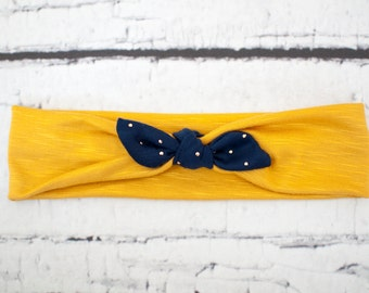 CHILD/GIRL'S Mustard Yellow, Blue Bow Jersey Knit Knotted Headband/Headwrap