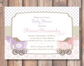 Classic Twin Girls Baby Shower Invitation Pink & Purple Vintage Pink and Purple Carriages Twin Girls Printable Invitation Prams Elegant