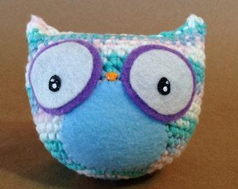 Striped Owl // amigurumi // blue + purple