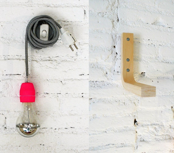 textile cable lamp with switch plug and the wood by. Black Bedroom Furniture Sets. Home Design Ideas