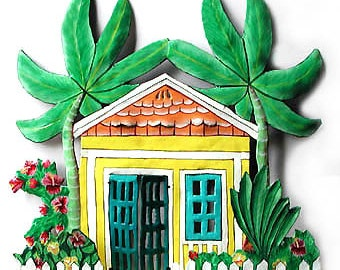 Yellow Caribbean Gingerbread House Wall Hanging - Tropical Home Decor - Painted Metal Tropical Art Design - Garden Decor - K-1003-YL