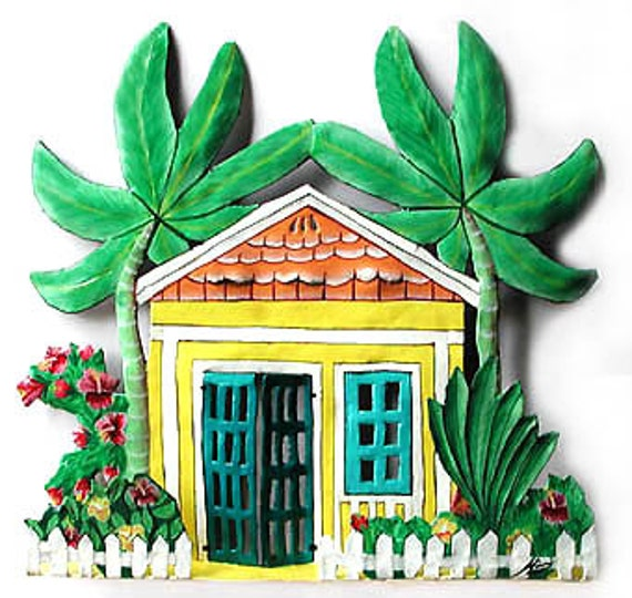 Caribbean Gingerbread House Wall Hanging, Metal Wall Art, Tropical ...