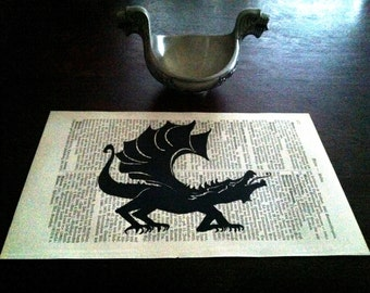 Black Dragon Fantasy Art Print on Antique 1896 Dictionary Book Page