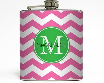Personalized Flask Custom Name Initial Monogram Chevron Stripe Pattern Custom Color Sorority - Stainless Steel 6 oz Liquor Hip Flask LC-1068