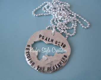 Honduras Hand Stamped Cut out necklace
