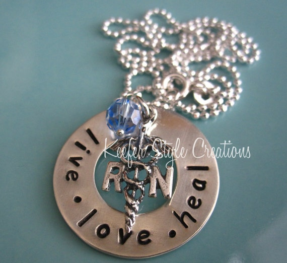 Hand Stamped Nurses necklace