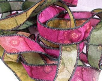 Hand Dyed Silk Ribbons Jewelry - Ribbon bracelet pendant Wrist wrap - Quintessence - Watermelon Sparkle
