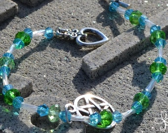 Green and Blue Crystal Pentacle Bracelet