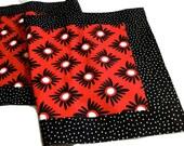 Bright red black white table runner