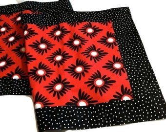 Bright red black white table runner