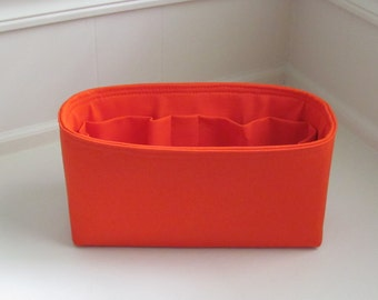 "MEDIUM Purse Insert ORGANIZER Purse Shaper  (4""-5"" Width/Depth). .Orange Blush.. .. Strong and Durable -"