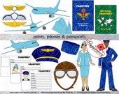 Pilots Planes and Passports: Travel Clipart (300 dpi transparent png) Pilot Stewardess Plane Passport Pilot Hat Pilot Wings
