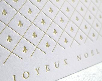 Letterpress Joyeux Noël Card - Gold Fleur-de-lis