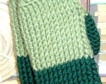 Handmade Adult Mittens Extra Warm  Two_toned Green