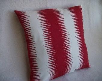 CLEARANCE Red Stripe Pillow Cover 18 x 18  Red White Jiri Stripe Pattern