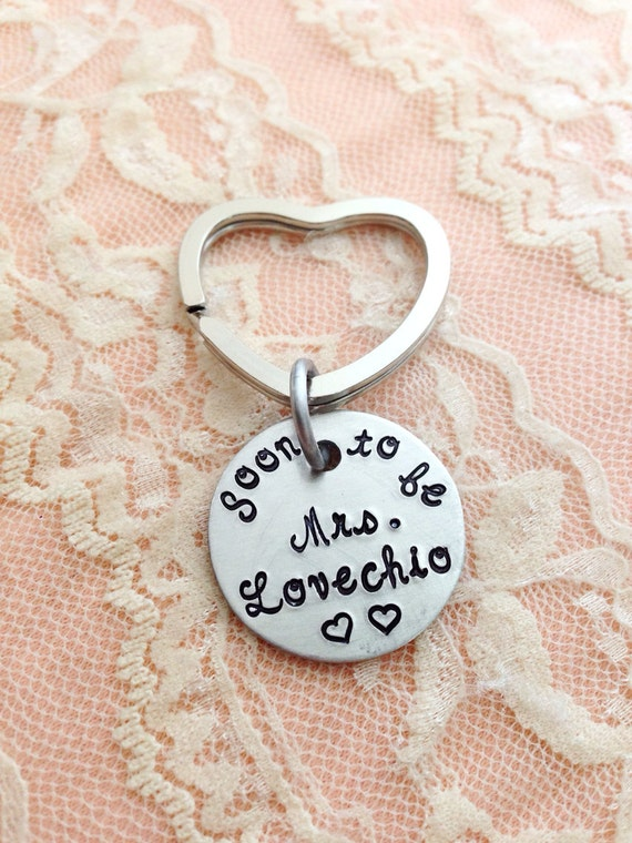 Soon to be Mrs... personalized engagement keychain, hand stamped