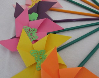CLEARANCE Butterfly Pinwheels set of 8 Bright Easter or Spring and Summery Twirling Pinwheels