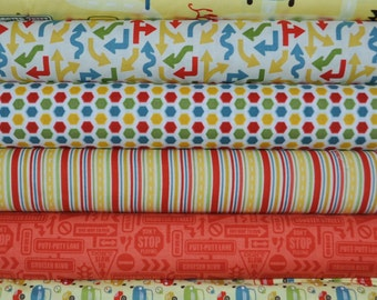 Cruiser Blvd Yellow Fat Quarter Bundle by Sheri McCulley Studio for Riley Blake, 6 pieces