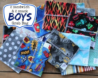 Reusable Snack and Sandwich Bag Bundle - Boy Grab Bag set - Free Shipping