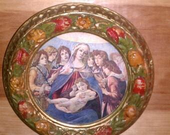 Small Round Marian Wood Frame w Botticelli Print 1950s Vintage Free Ship