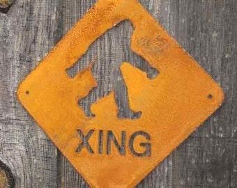 Bigfoot, Sasquatch or Yeti Crossing Metal Wall Mount Sign