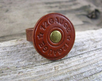 Leather Jewelry - Mens Leather Ring - Shot Gun Shell Ring - Hunters Ring - Round Leather Ring - Circle Ring - Gun Ring