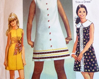 60s Mod Mini Dress Pattern Simplicity 8609 Bust 36 Mad Men Style