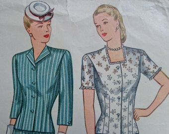 """40s Dress Pattern Simplicity 1346 Bust 34"""" Two Piece Dress with Square Neckline Gored Skirt"""