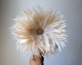 Ivory Cream Gatsby Feather Fascinator Headband Hat