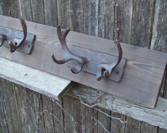 Rustic Cast Iron  Tripple  Deer Antler coat rack  -- lodge cabin decor -- rich patina on cast iron hooks and western cedar