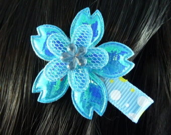 NEW - Iridescent Turquoise Blue and Yellow Flower Hair Clip, Hair Accessory, Hair Bow - HM64