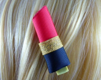 SALE - NEW - Lusious Diva Lipstick Hairclip, Hair Clip, Hair accessory, 3DRibbon Scupture