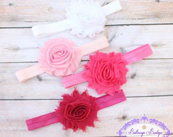 4 flower headbands, girls headband, baby headband, infant headband, shabby flower headband, pink baby headband, hot pink headband