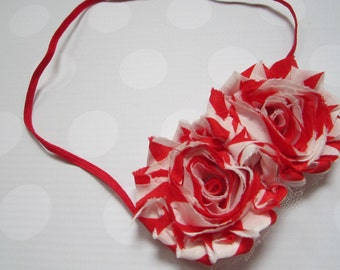 Rose Headband in Red Candy Cane