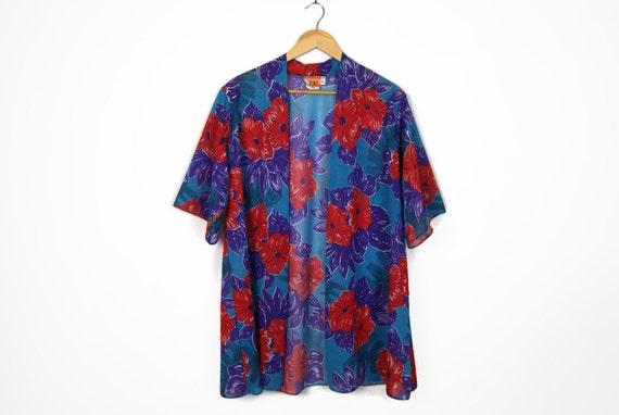 70s floral Hawaiian print open kimono jacket / retro beach cover up // sz m - l