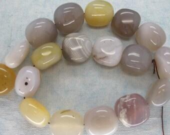 Large Natural Botswana Agate Polished Pebble Beads
