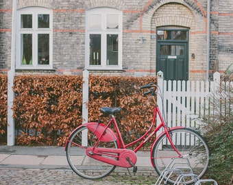 Red Bicycle Art, Bike Photograph, Still Life Fine Art, Travel Photograph, Red Bike, Bike Print Travel Art, Copenhagen Photo, Urban, Europe