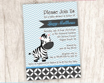 Zebra Blue Chevron Baby Shower Invitation, Chic Zebra Baby Boy Shower Invite - DiY Printable, Print Service Available || Levi the Zebra