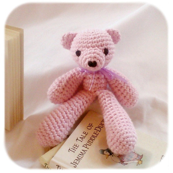 small teddy bear stuffed animal soft pink crochet plush amigurumi cotton yarn handmade