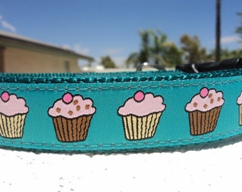 "Girl Dog Collar Cup Cake Turquoise 1"" wide side release buckle adjustable - No martingale very limited ribbon"