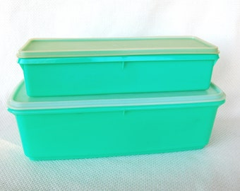 Set of 2 Vintage Tupperware Veggie Crispers Refrigerator Containers in Spring Green Easy Crisp and Slim Stor