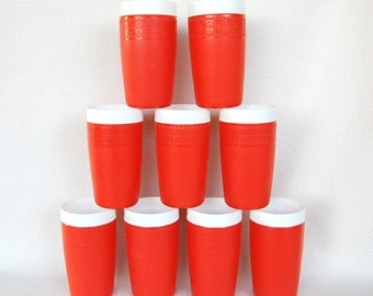 Set of 9 Olympian Therm O Ware Insulated 12 ounce Tumblers in Orange and White Great for Outdoors, Safe Around the Pool
