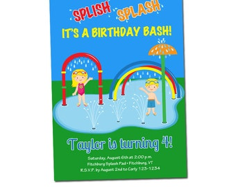 PRINTABLE Splash Pad Party Invitations #588