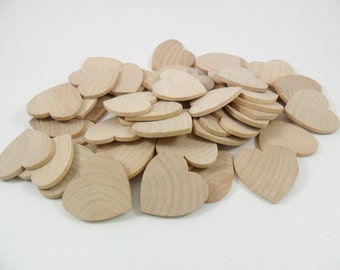 """Wood Hearts 1 1/2"""" x 1 1/2"""" x 1/8"""" Unfinished Wood Hearts Wedding Guest Book - 50 Pieces"""