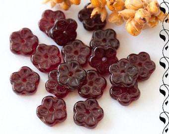 Czech Glass Beads 7 mm Garnet Red 30 pcs