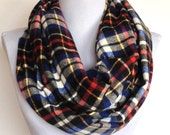 Infinity Scarf in Red, White, Blue and Black Tartan Plaid Flannel, Circle Scarf, Eternity Scarf, Loop Scarf, Winter Scarf