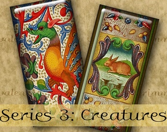 1x2 inch CREATURES ILLUMINATIONS Series No. 3 Digital Printable Domino collage sheet from Old Manuscripts for Pendants Magnets Crafts