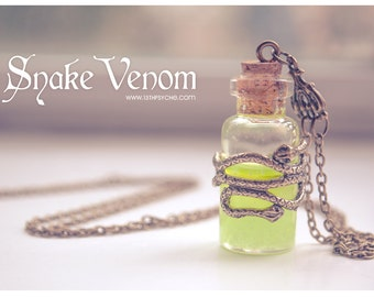 Glowing Necklace, Snake venom bottle Necklace. gothic poison pendant, glow in the dark necklace potion bottle pendant, beauty gift for women