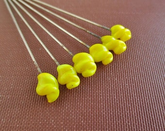 6 Vintage Yellow Glass Stick Pins